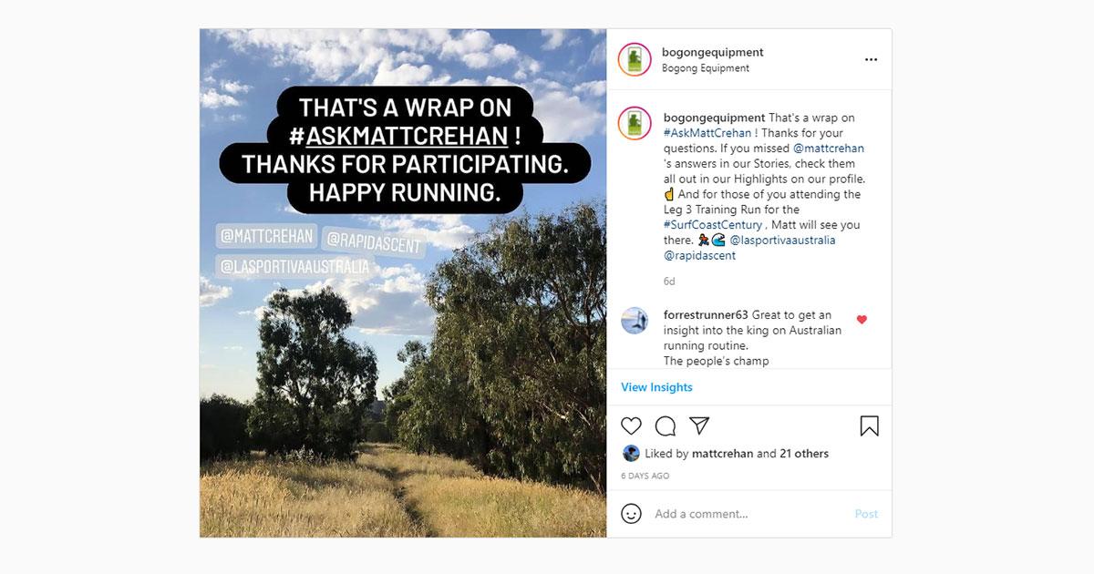 Bogong Instagram screenshot - Ask Matt Crehan