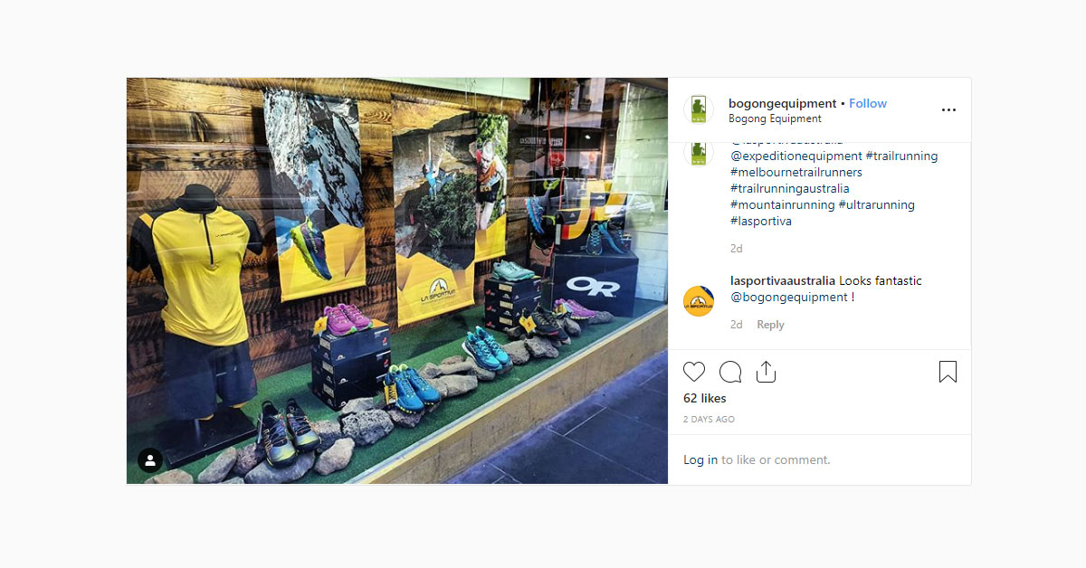 Bogong Instagram screenshot - La Sportiva window