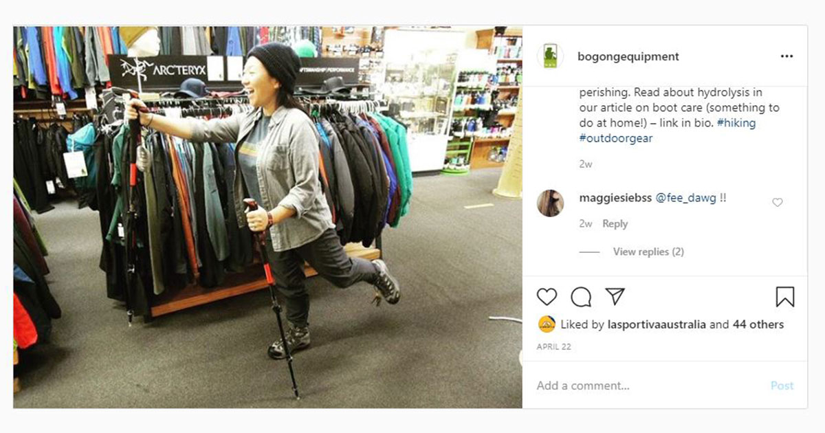 Bogong Instagram screenshot - Tam in walking boots