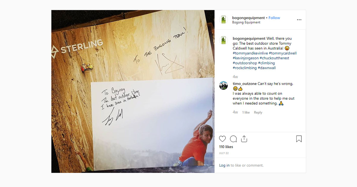 Bogong Instagram screenshot - Poster signed by Tommy Caldwell