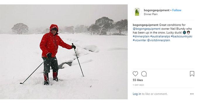 Bogong Instagram screenshot - Neil at Dinner Plain