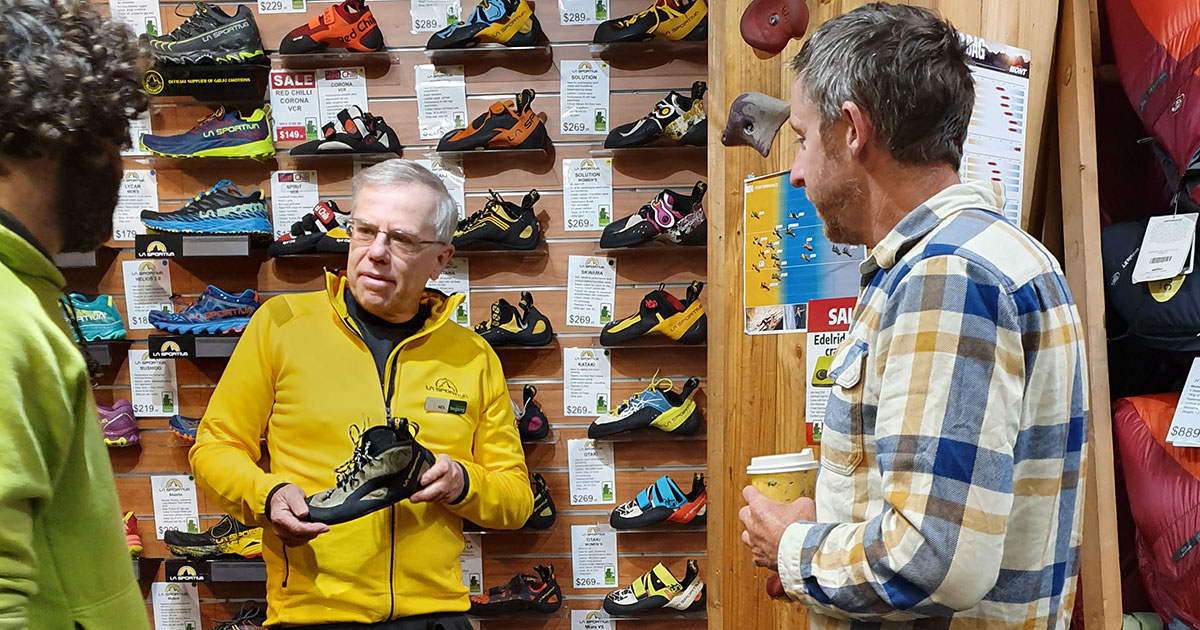 Neil discusses Tommy's La Sportiva TC Pro climbing shoes