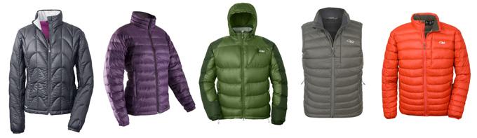OR Aria Jacket, Mont Neon Jacket, OR Virtuoso Jacket, OR Transcendent Vest, OR Transcendent Jacket